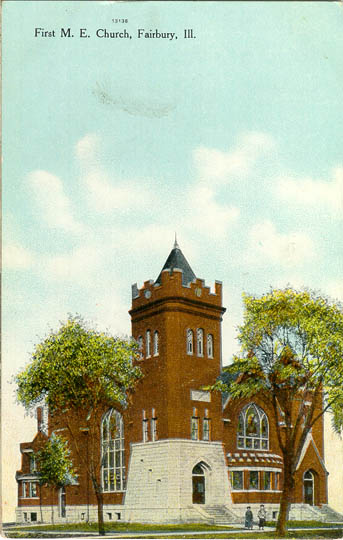 historical postcard of Fairbury Methodist Church