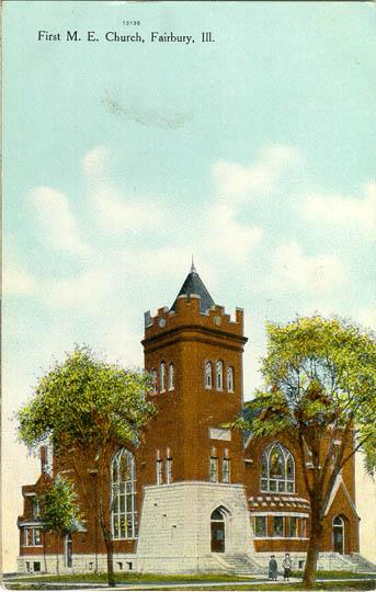 historical postcard of Fairbury Methodist Church